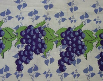 "Vintage Feedsack, Fabric,  Fabulous Grapes and Leaves, Border Print, Still a Sack 43 x 47"" Open"
