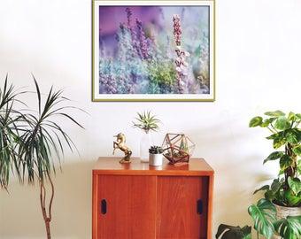 Nature Print, Purple Wall Decor, Heather Photography Print, Large Wall Art, Botanical Print, Purple Wall Art, Nature Art, Purple Home Decor