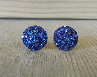 Midnight Blue Sparkle Druzy Earrings -12mm on Stainless Steel Posts.