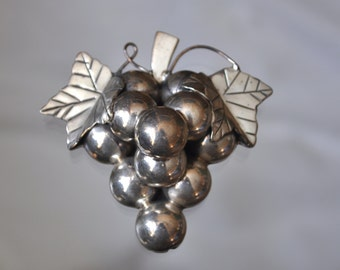 Permanently reduced : Vintage  Sterling Silver grape pendant/brooch
