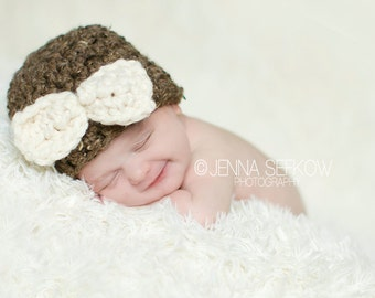 Baby Bow Hat Newborn Photography Prop Brown Cream
