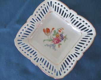 Vintage Rare German Lattice Floral Porcelain Plate Gold Gilt Trim Marked Vintage Dish Vintage Plates Post WW II Antique Collectible Plates