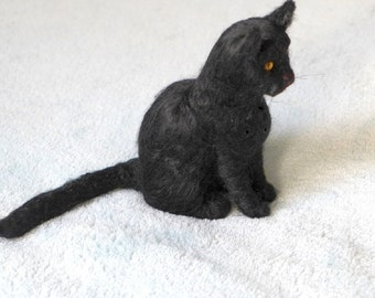 Handmade Needle Felted Cat / Custom Pet Portrait by Gourmet Felted