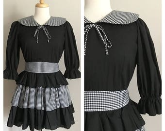 60s 70s Black and White Gingham Square Dancing Dress