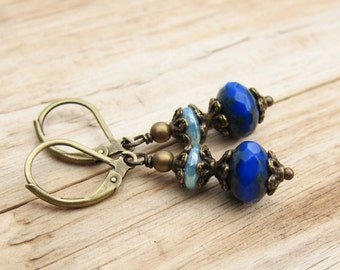 Small vintage style earrings blue bronze