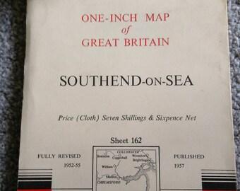 Vintage Ordnance Survey Map No.162   Southend -On-Sea.   1957