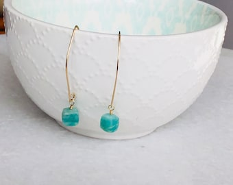 Modern Gold Filled Amazonite Gemstone Cube Dangle Earrings