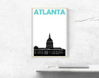 Atlanta Print // Georgia Art Print // Atlanta Georgia Poster // Atlanta Poster // Atlanta Art // Georgia Art // Mens Gift // Womens Gift