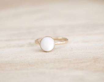 Mother of pearl shimmer stacking ring, stacker ring, pearl ring, pearl stacking ring, gold pearl ring, gold ring, dainty ring, stacking ring