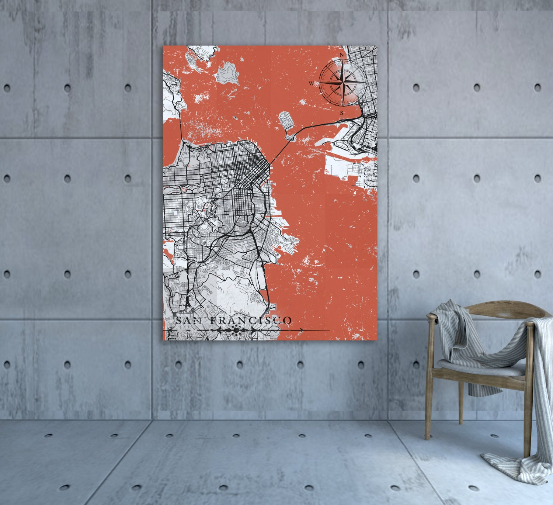SAN FRANCISCO CA Canvas Print California Sf Ca Vintage Map San - Vintage sf map