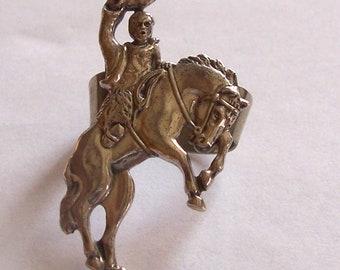 Sterling Cowboy on Bucking Bronco Bolo ~ Signed
