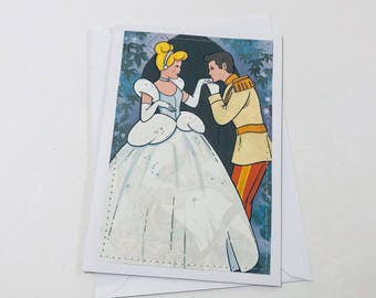 Cinderella Wedding - Stitched Greeting Card and Envelope - Blank