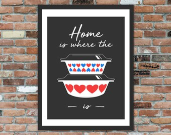 Home is where the Heart is - JAJ Pyrex Red and Blue Hearts, Valentine's Day, Kitchen Print