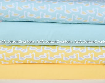 ORGANIC FLANNEL Fabric, 4 Prints of Organic Cotton Flannel Fabric, Super Soft Flannel, Blue Yellow Duck print,for baby child bedding clothes