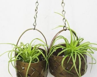 Brass Vintage Open Weave Baskets Hanging Indoor Outdoor Garden Baskets Vintage Home and Living Indoor Planter Brass Basket Set Air Plant