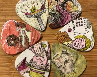 Cloudy with a Chance of Meatballs Upcycled Guitar Picks