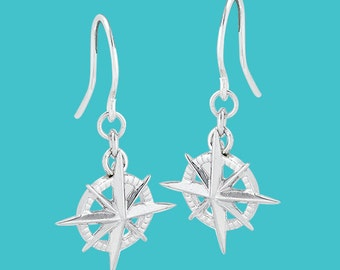 Compass Rose Earrings - Sterling Silver
