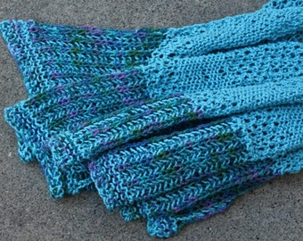 Blue and Purple Tranquility Cotton Hand Knit Asymmetrical Brioche Shawlette or Scarf