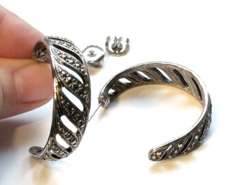 Avon Timeless Style Hoop Earrings ~ Large Silver Marcasite Post Earrings ~ Textured Silvertone - Vintage 1992