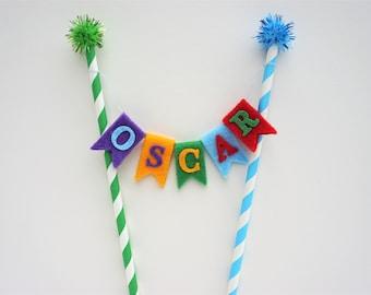 Personalised Cake Topper, Name Cake Topper, Pom Pom Cake Topper, Custom Cake Topper, Birthday Cake Topper, Rainbow Birthday, First Birthday
