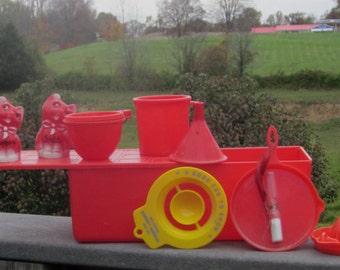 Vintage Red Plastic Kitchen Collectibles Large Quantity 1950's