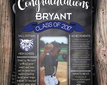 Graduation Stat Chalkboard - Digital Poster