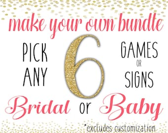 Shower Game Pack Bundle - Pick and Choose ANY 6 Games or Signs - Six Baby Shower or Bridal Shower Printable Downloads