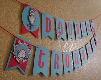 Dr. Seuss Inspired Banner, Thing 1 and Thing 2
