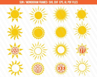 Sun SVG, Sun monogram, Summer svg, Sunlight svg, cricut, svg monogram frames - Instant digital Download - Svg, Dxf, Ai, Pdf, Eps