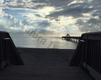 5x7 Beach Pier Photo w 8x10 Mat