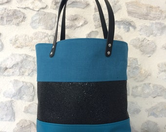 Green duck and black PM tote bag