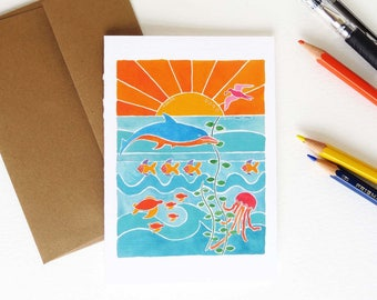 Whimsical Beach Notecards - Colorful Ocean Scene - Set of Eight