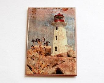 Lighthouse magnet, Magnet, Fridge magnet, Large Magnet, Kitchen magnet, ACEO, stocking stuffer, landscape, lighthouse (4445)