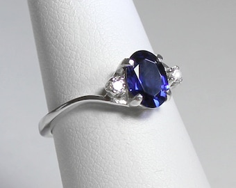 Sterling Silver Blue Sapphire Ring with Diamonds (Lab) / Sapphire Ring Silver