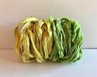 Sari Silk Ribbon-Yellow & Leaf Green Recycled Sari Ribbon-10 Yards