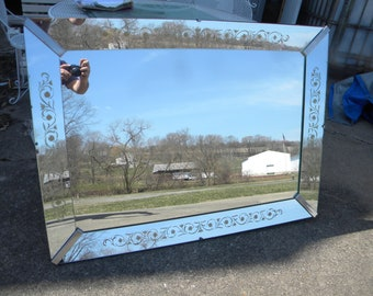 nice shape vintage 1940s or so LARGE ENGRAVED floral RECTANGLE wall mirror     pick up only