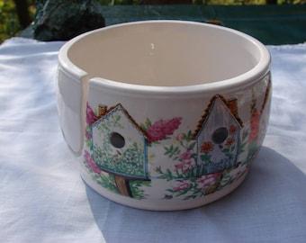 Bird Houses All Around!!  Ceramic Yarn Bowl / Yarn Holder