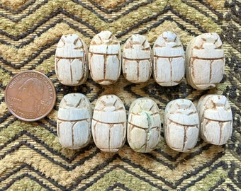 NEW COLOR!  10 Egyptian Faience Scarab Beads Matte IVORY with antiquing