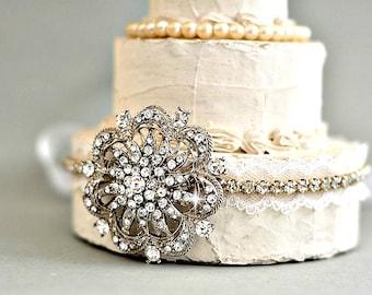 Vintage Style Rhinestone Bridal lace Headband wedding headpieces, Bridal Hair Accessories, Wedding Hair Accessories,Bridal Headpiece