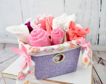 Baby Shower Gift Girl  | Baby Girl Gift Basket | New Baby Gift Basket | New Parent Gift Basket | Baby Bouquet | Shower Centerpiece | Welcome