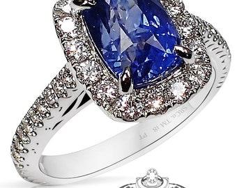 2.81 ct Untreated Color Change Sapphire Ring, Blue to Purple Cushion Cut Ceylon Sapphire - 3144