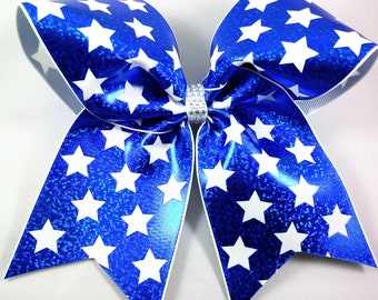 Patriotic Cheer Bow, Blue and White Hairbow, July 4th Hair Bow, Large Hairbow