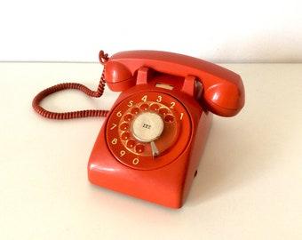 Vintage Retro Rotary Phone, ITT 1970's Telephone, Old School Rotary Phone, Land Line Telephone, Home Decor.