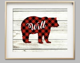 Baby boy nursery wall art woodlands nursery bear cub print buffalo plaid boy room decor rustic nursery personalized baby gift for baby
