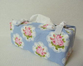 Tissue Box Cover/Rose x White Ribbon