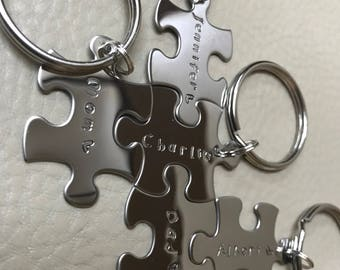 Custom Stainless Steel Puzzle Piece Key Chain