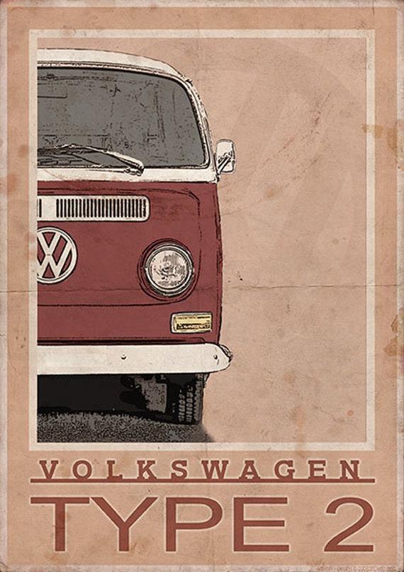 Volkswagen Type 2 Bay Window Van Bus Vintage Style Poster