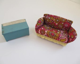 vintage miniature groovy sofa and chest dollhouse furniture vintage doll furniture sofa and dresser