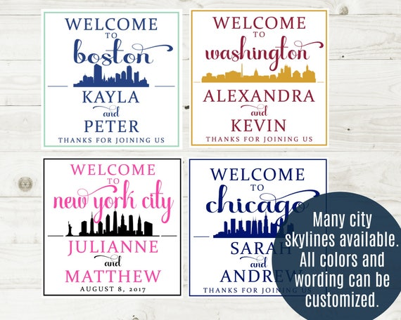 New york city wedding welcome box sticker city skyline gable box labels nyc wedding favor manhattan wedding hotel welcome bag stickers