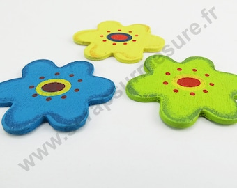 Miniature wooden - flowers - 40mm - x 6pcs